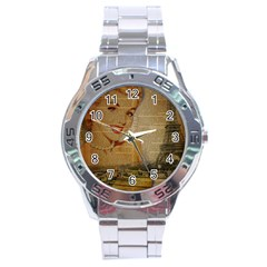 Yellow Dress Blonde Beauty   Stainless Steel Watch (Men s)
