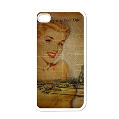 Yellow Dress Blonde Beauty   Apple Iphone 4 Case (white)