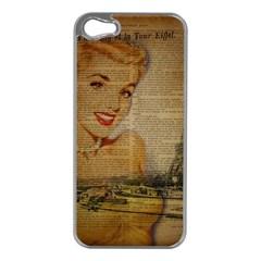 Yellow Dress Blonde Beauty   Apple Iphone 5 Case (silver)