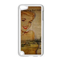 Yellow Dress Blonde Beauty   Apple Ipod Touch 5 Case (white)