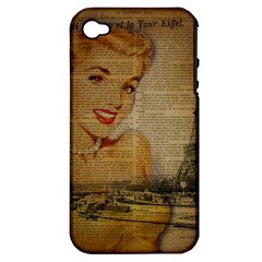 Yellow Dress Blonde Beauty   Apple Iphone 4/4s Hardshell Case (pc+silicone)
