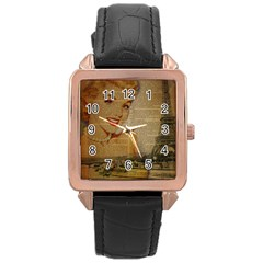 Yellow Dress Blonde Beauty   Rose Gold Leather Watch