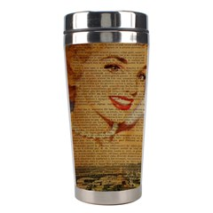 Yellow Dress Blonde Beauty   Stainless Steel Travel Tumbler