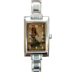 Retro Telephone Lady Vintage Newspaper Print Pin Up Girl Paris Eiffel Tower Rectangular Italian Charm Watch