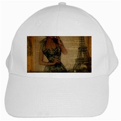 Retro Telephone Lady Vintage Newspaper Print Pin Up Girl Paris Eiffel Tower White Baseball Cap
