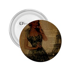 Retro Telephone Lady Vintage Newspaper Print Pin Up Girl Paris Eiffel Tower 2.25  Button