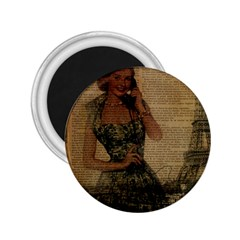 Retro Telephone Lady Vintage Newspaper Print Pin Up Girl Paris Eiffel Tower 2.25  Button Magnet