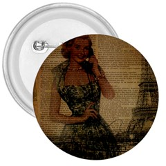 Retro Telephone Lady Vintage Newspaper Print Pin Up Girl Paris Eiffel Tower 3  Button