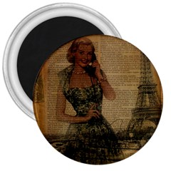 Retro Telephone Lady Vintage Newspaper Print Pin Up Girl Paris Eiffel Tower 3  Button Magnet