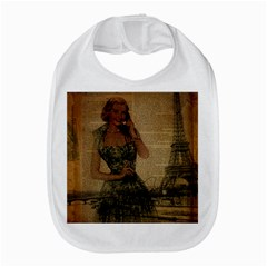 Retro Telephone Lady Vintage Newspaper Print Pin Up Girl Paris Eiffel Tower Bib