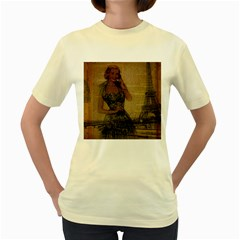 Retro Telephone Lady Vintage Newspaper Print Pin Up Girl Paris Eiffel Tower  Womens  T-shirt (Yellow)