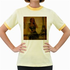 Retro Telephone Lady Vintage Newspaper Print Pin Up Girl Paris Eiffel Tower Womens  Ringer T-shirt (Colored)