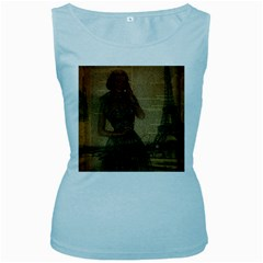 Retro Telephone Lady Vintage Newspaper Print Pin Up Girl Paris Eiffel Tower Womens  Tank Top (Baby Blue)