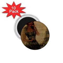 Retro Telephone Lady Vintage Newspaper Print Pin Up Girl Paris Eiffel Tower 1.75  Button Magnet (10 pack)