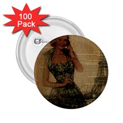 Retro Telephone Lady Vintage Newspaper Print Pin Up Girl Paris Eiffel Tower 2.25  Button (100 pack)