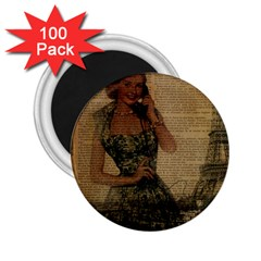 Retro Telephone Lady Vintage Newspaper Print Pin Up Girl Paris Eiffel Tower 2 25  Button Magnet (100 Pack)