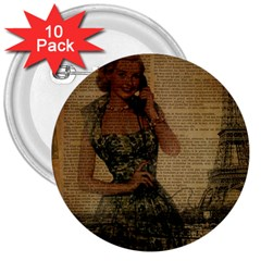 Retro Telephone Lady Vintage Newspaper Print Pin Up Girl Paris Eiffel Tower 3  Button (10 pack)