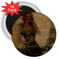 Retro Telephone Lady Vintage Newspaper Print Pin Up Girl Paris Eiffel Tower 3  Button Magnet (10 pack)