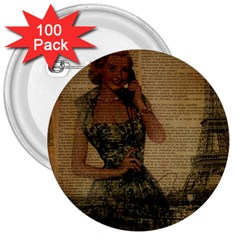 Retro Telephone Lady Vintage Newspaper Print Pin Up Girl Paris Eiffel Tower 3  Button (100 pack)