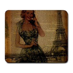 Retro Telephone Lady Vintage Newspaper Print Pin Up Girl Paris Eiffel Tower Large Mouse Pad (Rectangle)