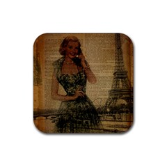 Retro Telephone Lady Vintage Newspaper Print Pin Up Girl Paris Eiffel Tower Drink Coasters 4 Pack (Square)