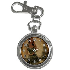 Retro Telephone Lady Vintage Newspaper Print Pin Up Girl Paris Eiffel Tower Key Chain & Watch