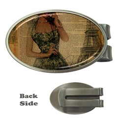 Retro Telephone Lady Vintage Newspaper Print Pin Up Girl Paris Eiffel Tower Money Clip (oval)