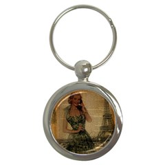 Retro Telephone Lady Vintage Newspaper Print Pin Up Girl Paris Eiffel Tower Key Chain (Round)