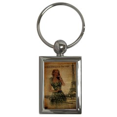 Retro Telephone Lady Vintage Newspaper Print Pin Up Girl Paris Eiffel Tower Key Chain (Rectangle)