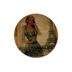Retro Telephone Lady Vintage Newspaper Print Pin Up Girl Paris Eiffel Tower Magnet 3  (Round)