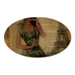 Retro Telephone Lady Vintage Newspaper Print Pin Up Girl Paris Eiffel Tower Magnet (oval)
