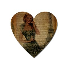 Retro Telephone Lady Vintage Newspaper Print Pin Up Girl Paris Eiffel Tower Magnet (heart)