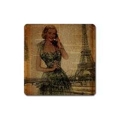 Retro Telephone Lady Vintage Newspaper Print Pin Up Girl Paris Eiffel Tower Magnet (Square)