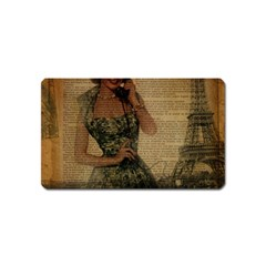 Retro Telephone Lady Vintage Newspaper Print Pin Up Girl Paris Eiffel Tower Magnet (Name Card)