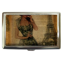 Retro Telephone Lady Vintage Newspaper Print Pin Up Girl Paris Eiffel Tower Cigarette Money Case