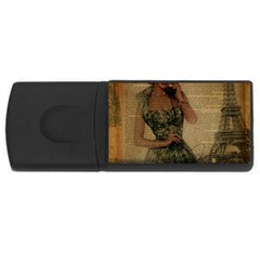 Retro Telephone Lady Vintage Newspaper Print Pin Up Girl Paris Eiffel Tower 1GB USB Flash Drive (Rectangle)