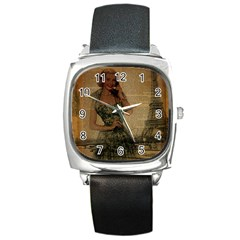 Retro Telephone Lady Vintage Newspaper Print Pin Up Girl Paris Eiffel Tower Square Leather Watch