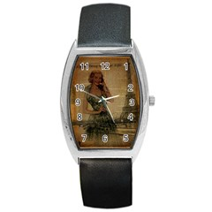Retro Telephone Lady Vintage Newspaper Print Pin Up Girl Paris Eiffel Tower Tonneau Leather Watch