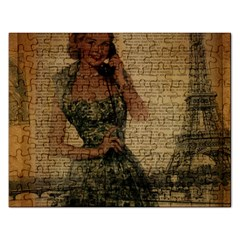 Retro Telephone Lady Vintage Newspaper Print Pin Up Girl Paris Eiffel Tower Jigsaw Puzzle (Rectangle)