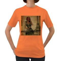 Retro Telephone Lady Vintage Newspaper Print Pin Up Girl Paris Eiffel Tower Womens' T Shirt (colored)
