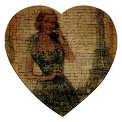 Retro Telephone Lady Vintage Newspaper Print Pin Up Girl Paris Eiffel Tower Jigsaw Puzzle (heart)