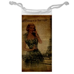 Retro Telephone Lady Vintage Newspaper Print Pin Up Girl Paris Eiffel Tower Jewelry Bag