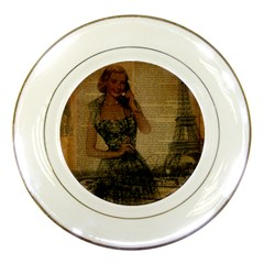 Retro Telephone Lady Vintage Newspaper Print Pin Up Girl Paris Eiffel Tower Porcelain Display Plate