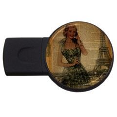 Retro Telephone Lady Vintage Newspaper Print Pin Up Girl Paris Eiffel Tower 4GB USB Flash Drive (Round)