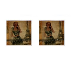 Retro Telephone Lady Vintage Newspaper Print Pin Up Girl Paris Eiffel Tower Cufflinks (Square)