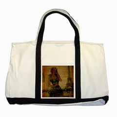 Retro Telephone Lady Vintage Newspaper Print Pin Up Girl Paris Eiffel Tower Two Toned Tote Bag