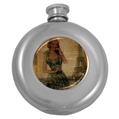 Retro Telephone Lady Vintage Newspaper Print Pin Up Girl Paris Eiffel Tower Hip Flask (Round)