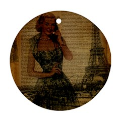 Retro Telephone Lady Vintage Newspaper Print Pin Up Girl Paris Eiffel Tower Round Ornament (Two Sides)