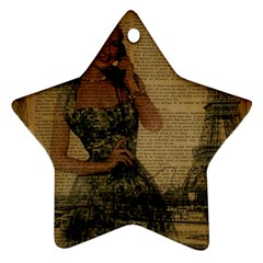 Retro Telephone Lady Vintage Newspaper Print Pin Up Girl Paris Eiffel Tower Star Ornament (Two Sides)