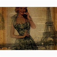 Retro Telephone Lady Vintage Newspaper Print Pin Up Girl Paris Eiffel Tower Canvas 12  X 16  (unframed)